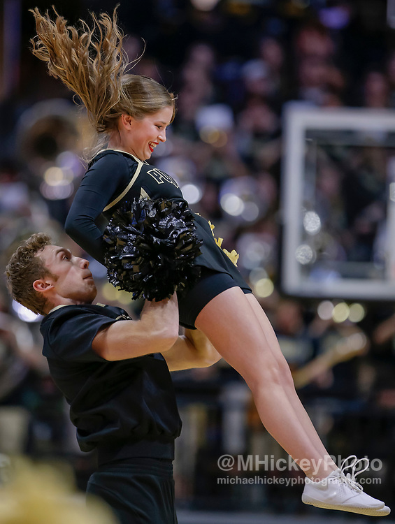 WEST LAFAYETTE, IN - JANUARY 19: A Purdue Boilermakers cheerleader is seen during the game is seen during the game against the Indiana Hoosiers at Mackey Arena on January 19, 2019 in West Lafayette, Indiana. (Photo by Michael Hickey/Getty Images)