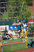 KONSTANTINOS FILIPPIDIS (GRE) competes in the Mens Pole Vault competition during the second day of the Diamond League event Prefontaine Classic held at the University of Oregons Hayward Field.The Prefontaine Classic is named for University of Oregon track legend Steve Prefontaine. Kynard finished second in the event. Fillippidis finished seventh in the event.