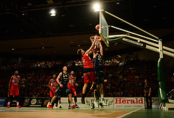 Michael Vigor of Bristol Flyers scores a basket. - Photo mandatory by-line: Alex James/JMP - 25/02/2018 - BASKETBALL - Plymouth Pavilions - Plymouth, England - Plymouth Raiders v Bristol Flyers - British Basketball League