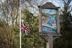 © Licensed to London News Pictures. 26/12/2016. Goring-, UK. A Union flag is raised to half mast on the green of Goring village near George Michael's home. Pop superstar George Michael died on Christmas day at his Oxfordshire home on the River Thames aged 53. Photo credit: Peter Macdiarmid/LNP