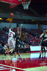 NORMAL, IL - October 30: Tete Maggett defended by Hennessey Handy during a college women's basketball game between the ISU Redbirds and the Lions on October 30 2019 at Redbird Arena in Normal, IL. (Photo by Alan Look)