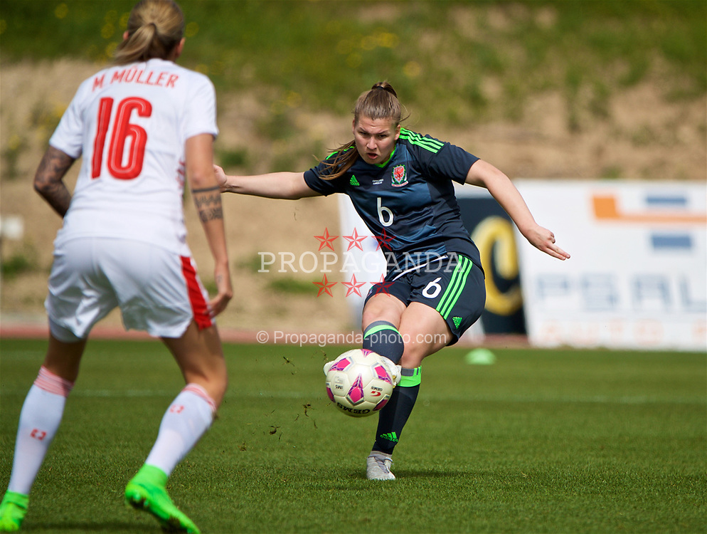 LARNACA, CYPRUS - Monday, March 5, 2018: Wales' Alice Griffiths during the Cyprus Women's Cup Group A match between Switzerland and Wales on day seven of the Cyprus Cup tournament at the GSZ Stadium Stadium. (Pic by David Rawcliffe/Propaganda)