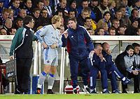Fotball, 4. november 2003, Champions League,, Club Brugge ( Brügge )-Milan 0-1,  Bengt Sæternes, Brugge og trener Trond Sollied