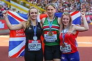 Silver medalistEmma HAMPLETT, gold medalist Laura WHITTINGHAM and bronze medalist Bethan REES after the Women's Javelin Final during the Muller British Athletics Championships at Alexander Stadium, Birmingham, United Kingdom on 25 August 2019.