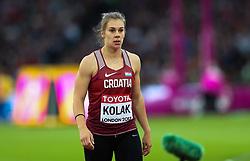 London, August 08 2017 . Sara Kolak, Croatia, in the women's javelin final on day five of the IAAF London 2017 world Championships at the London Stadium. © Paul Davey.