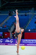 Zhumatayeva Selina during the qualication of ball at the Pesaro World Cup 2018. Selina come from Kazakhstan, she is born in Tashkent in 1998.