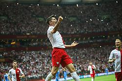 June 10, 2019 - Warsaw, Poland - Poland's forward Robert Lewandowski celebrate scoring during the UEFA Euro 2020 qualifier Group G football match Poland against Israel on June 10, 2019 in Warsaw, Poland. (Credit Image: © Foto Olimpik/NurPhoto via ZUMA Press)