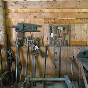 Old iron and steel tools in an old barn, Fryeburg, maine