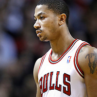 29 January 2012: Chicago Bulls point guard Derrick Rose (1) is seen during the Miami Heat 97-93 victory over the Chicago Bulls at the AmericanAirlines Arena, Miami, Florida, USA.