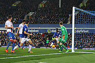 Romelu Lukaku of Everton gets the ball at the back post and taps in and scores his teams 1st goal to make it 1-1.. Barclays Premier league match, Everton v Crystal Palace at Goodison Park in Liverpool, Merseyside on Monday 7th December 2015.<br /> pic by Chris Stading, Andrew Orchard sports photography.