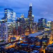 Chicago Loop aerial dusk view from Fulton River Park, 2019