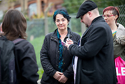 © Licensed to London News Pictures. 13/04/2018. London, UK. Witness Maria Maclachlan speaks to media outside Hendon Magistrates Court, after Transgender activist Tara Wolf (not pictured) was found guilty of assault by beating on the second day of trial. The incident happened during a clash at Speakers' Corner, in Hyde Park last September. Wolf was ordered to pay fines and costs totalling £430. Photo credit : Tom Nicholson/LNP