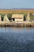 Reed house, Lake Titicaka, Puno, Peru, South America