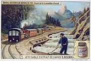 Rack railway (cremaillere) between Zermatt and Gornegrat, Switzerland, using Roman Abt's system, opened 18 July 1891. Liebig trade card c1900. Transport Locomotive Steam Railway Railroad Mountain