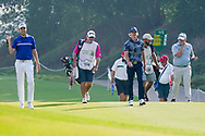 Steven Brown (ENG), Sean Crocker (USA) and George Coatzee (RSA) on the 1st during Round 4 of the Oman Open 2020 at the Al Mouj Golf Club, Muscat, Oman . 01/03/2020<br /> Picture: Golffile   Thos Caffrey<br /> <br /> <br /> All photo usage must carry mandatory copyright credit (© Golffile   Thos Caffrey)