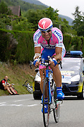 France, Talloire, 22 July 2009: Marcin Sapa (Pol) Lampre - NGC on the Côte de Bluffy during Stage 18 - a 40.5 km Annecy to Annecy individual time trial. Photo by Peter Horrell / http://peterhorrell.com .