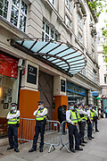 London, United Kingdom, May 28, 2021: While people are demanding the immediate shutdown of Elbit Systems in Britain,  police have extended their security presence surrounding the HQ office of the Israeli owned weapons factory in central London on Friday, May 28, 2021. (Photo by Vudi Xhymshiti)