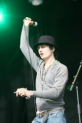 Pete Docherty of Babyshambles, play on the NME Stage, at T in the Park, Saturday 7 July 2007..T in the Park festival took place on the 6th, 7th and 8 July 2007, at Balado, near Kinross in Perth and Kinross, Scotland. This was the first time the festival had been held over three days..Pic ©Michael Schofield. All Rights Reserved..