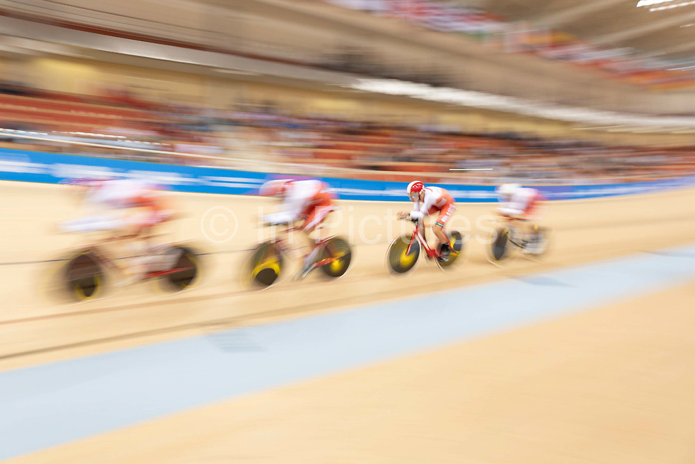 Belarus compete against Italy in the mens cycle team pursuit during the 2019 Minsk European Games on the 28th June 2019 in Minsk in Belarus.