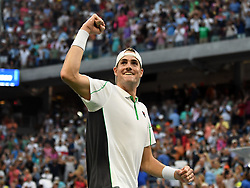 September 2, 2018 - Flushing Meadow, NY, U.S. - FLUSHING MEADOW, NY - SEPTEMBER 02:  John Isner (USA) celebrates  his 4th round victory over Milos Raonic (CAN) in the Men's Singles Championships at the US Open on September 02, 2018 at the Billie Jean King Tennis Center in Flushing Meadow, NY. (Photo by Cynthia Lum/Icon Sportswire) (Credit Image: © Cynthia Lum/Icon SMI via ZUMA Press)