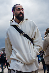 Fear of God creator, Jerry Lorenzo, walks before the Louis Vuitton shows as part of Paris Haute Couture Fashion Week Spring/Summer 2019-2020 on January 17 in Paris, France. Photo by Julie Sebadelha/ABACAPRESS.COM