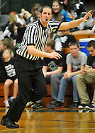 Referees Joel Jancsura and Matt Kendeigh work the Clearview at Elyria Catholic boys high school varsity basketball on February 14, 2012.