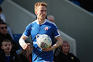 Chesterfield defender Andy Kellett (24) prepares to take a throw in during the EFL Sky Bet League 2 match between Chesterfield and Notts County at the Proact stadium, Chesterfield, England on 25 March 2018. Picture by Nigel Cole.
