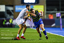 Matthew Rees of Cardiff Blues is tackled by Sofiane Guitoune of Toulouse - Mandatory by-line: Craig Thomas/JMP - 14/01/2018 - RUGBY - BT Sport Cardiff Arms Park - Cardiff, Wales - Cardiff Blues v Toulouse - European Rugby Challenge Cup