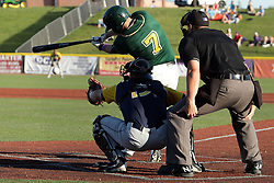 08 July 2017: Aaron Dudley during a Frontier League Baseball game between the Traverse City Beach Bums and the Normal CornBelters at Corn Crib Stadium on the campus of Heartland Community College in Normal Illinois
