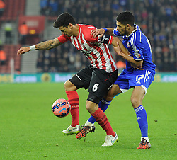 Ipswich Town's Kevin Bru tussles with Southampton's Jose Fonte - Photo mandatory by-line: Paul Knight/JMP - Mobile: 07966 386802 - 04/01/2015 - SPORT - Football - Southampton - St Mary's Stadium - Southampton v Ipswich Town - FA Cup Third Round