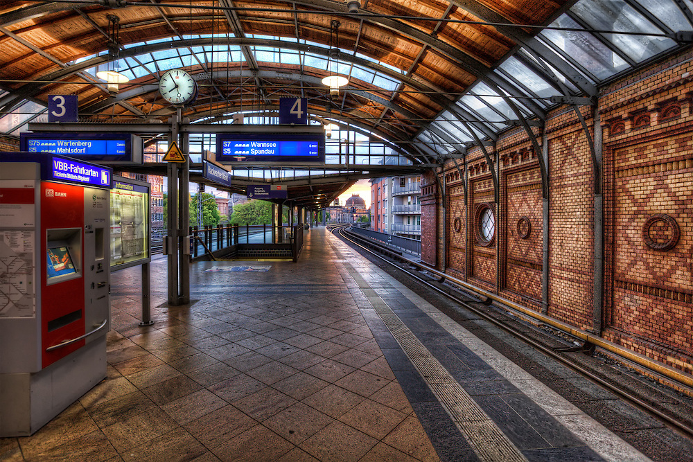 Sunset at a S-Bahn Station, Berlin, Germany