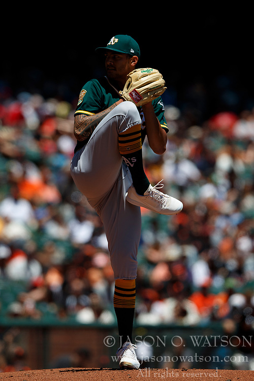 SAN FRANCISCO, CA - JULY 15: Sean Manaea #55 of the Oakland Athletics pitches against the San Francisco Giants during the first inning at AT&T Park on July 15, 2018 in San Francisco, California. The Oakland Athletics defeated the San Francisco Giants 6-2. (Photo by Jason O. Watson/Getty Images) *** Local Caption *** Sean Manaea