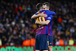 January 30, 2019 - Barcelona, Spain - FC Barcelona defender Jordi Alba (18) celebrates scoring the goal with FC Barcelona forward Lionel Messi (10) during the match FC Barcelona v Sevilla CF, for the round of 8, second leg of the Copa del Rey played at Camp Nou  on 30th January 2019 in Barcelona, Spain. (Credit Image: © Mikel Trigueros/NurPhoto via ZUMA Press)