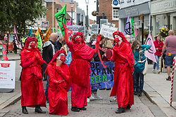 Bishop's Stortford, UK. 29th August, 2020. Members of the Red Rebel Brigade join fellow climate activists from Extinction Rebellion at a protest against the expansion of Stansted Airport. The activists are calling on Manchester Airports Group to withdraw their appeal, for which planning permission was previously refused by Uttlesford District Council, to be able to expand Stansted Airport from a maximum of 35 million to 43 million passengers a year, as well as calling on the Government to halt all airport expansion in order to maintain its commitments under the Paris Agreement.