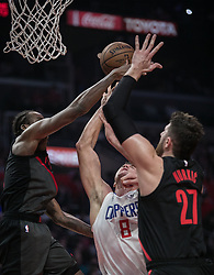 December 17, 2018 - Los Angeles, California, United States of America - Danilo Gallinari #8 of the Los Angeles Clippers drives to the basket during their NBA game with the Portland Trailblazers on Monday December 17, 2018 at the Staples Center in Los Angeles, California. Clippers lose to Trailblazers, 127-131. JAVIER ROJAS/PI (Credit Image: © Prensa Internacional via ZUMA Wire)