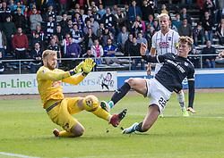 Ross County's keeper Scott Fox and Dundee's Jack Hendry. Dundee 1 v 2 Ross County, Scottish Premiership game played 5/8/2017 at Dundee's home ground Dens Park.