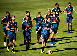 July 4, 2018 - Gelendzhik, Russia - 180704 The players of the Swedish national football team warming up prior a practice session during the FIFA World Cup on July 4, 2018 in Gelendzhik..Photo: Petter Arvidson / BILDBYRN / kod PA / 92081 (Credit Image: © Petter Arvidson/Bildbyran via ZUMA Press)