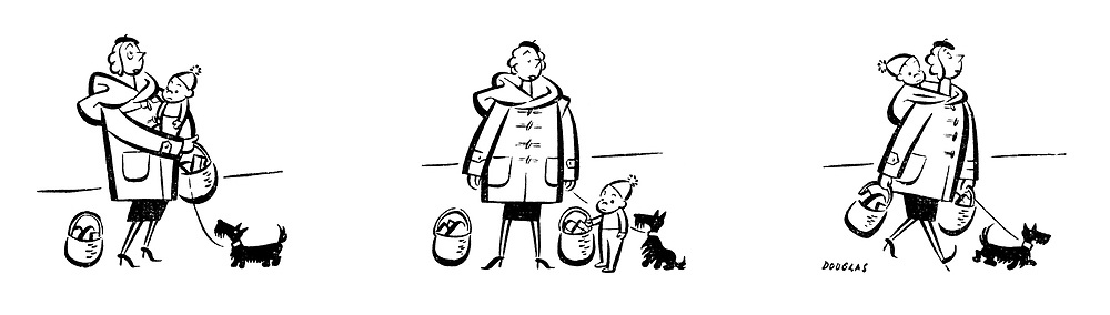 (A mother trying to carry two baskets of shopping and a baby puts the baby in her coat hood)