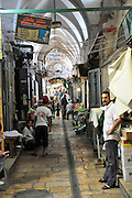 Israel, Jerusalem, Old City, Shoppers in Market Alley