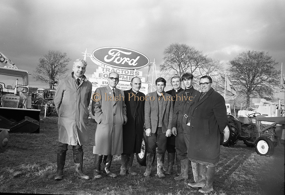 National Ploughing Championships at Tullow, Co. Carlow. Mr. T.J. Brennan, Managing Director, Henry Ford and Son, congratulates Richard Miller of Pallaskenny Agricultural College on winning the All-Ireland Colleges Ploughing Championship. Also pictured are (l-r) G.F. McGovern, Tractor Operations Manager, Henry Ford and Son; Rev. Fr. M.M. Hanniffy, Headmaster, Pallaskenny Agricultural College; Rev. Fr. P. Collins, Headmaster, Warrenstown Agricultural College and Chairman of the Organising Committee; John V. Rice, runner up, Athenry Agricultural College; and Mr Simon Ward, Superintendant, Athenry Agricultural College..26.10.1967