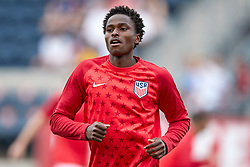 May 28, 2018 - Chester, PA, U.S. - CHESTER, PA - MAY 28: United States defender Matthew Olosunde (2) warms up prior to the international friendly match between the United States and Bolivia at the Talen Energy Stadium on May 28, 2018 in Chester, Pennsylvania. (Photo by Robin Alam/Icon Sportswire) (Credit Image: © Robin Alam/Icon SMI via ZUMA Press)