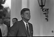 President Kennedy leaving the U.S. Emabssy in Dublin after talks with An Taoiseach Seán Lemass.  The President then left for a visit to his ancestral home in Wexford 27.06.1963. john f kennedy images, john f kennedy president, john f kennedy photos,<br /> jfk visit to Ireland,pictures of john f kennedy, john f kennedy pictures, jfk visit to ireland 1963, John kennedy f, John f kennedy John f kennedy, John f kennedy in Ireland, jfk in ireland 1963, John kennedy Ireland, John f kennedy visit to Ireland,