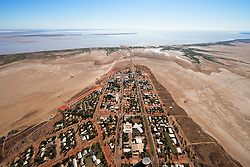 Aerial view of the township of Derby, West Kimberley, showing the surrounding mudflats.