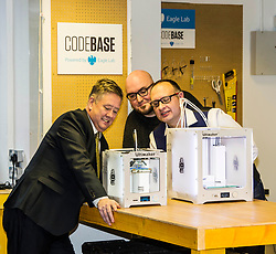 Pictured: Keith Brown with Stuart Brown (white shirt) Head of SME Barclays bankingScotland and Stephen Coleman, CEO and founder of Codebase<br /> Today Keith Brown MSP opened Scotland's first Barclays Eagle lab in partnership with CodeBase. The resource allows businesses and communities to access new technologies and boost digital skills while supporting job creation in the local economy. <br /> <br /> Ger Harley   EEm 16 January 2018