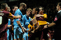 Photo: Jed Wee.<br />Bradford City v Tranmere Rovers. The FA Cup.<br />06/11/2005.<br /><br />Tempers flare at the end as Tranmere's Paul Linwood (L) squares up to Bradford's Lewis Emanuel.