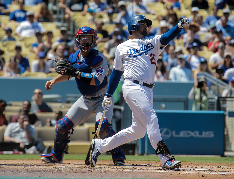 Aug 28 2016 - Los Angeles U.S. CA - LA Dodgers 1B # 23 Adrian Gonzalez swing at a bad pitch during MLB game between LA Dodgers and the Chicago Cubs 1-0 win at Dodgers Stadium Los Angeles Calif. Thurman James / CSM