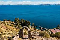 Titicaca Lake from Taquile Island in the peruvian Andes at Puno Peru