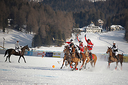 Pablo Jauretche and Gonzalo Bourdieu of the Germany going for the ball<br /> St.Moritz Polo World Cup On Snow 2011<br /> © Dirk Caremans