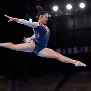 TOKYO, JAPAN - JULY 29: Sunisa Lee of the United States performs her routine on the balance beam during her gold medal performance in the All-Around Final for Women at Ariake Gymnastics Centre during the Tokyo 2020 Summer Olympic Games on July 29, 2021 in Tokyo, Japan. (Photo by Tim Clayton/Corbis via Getty Images)