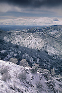 Spring snow storm covers the hills of the Diablo Range near Mount Hamilton, Santa Clara County, California